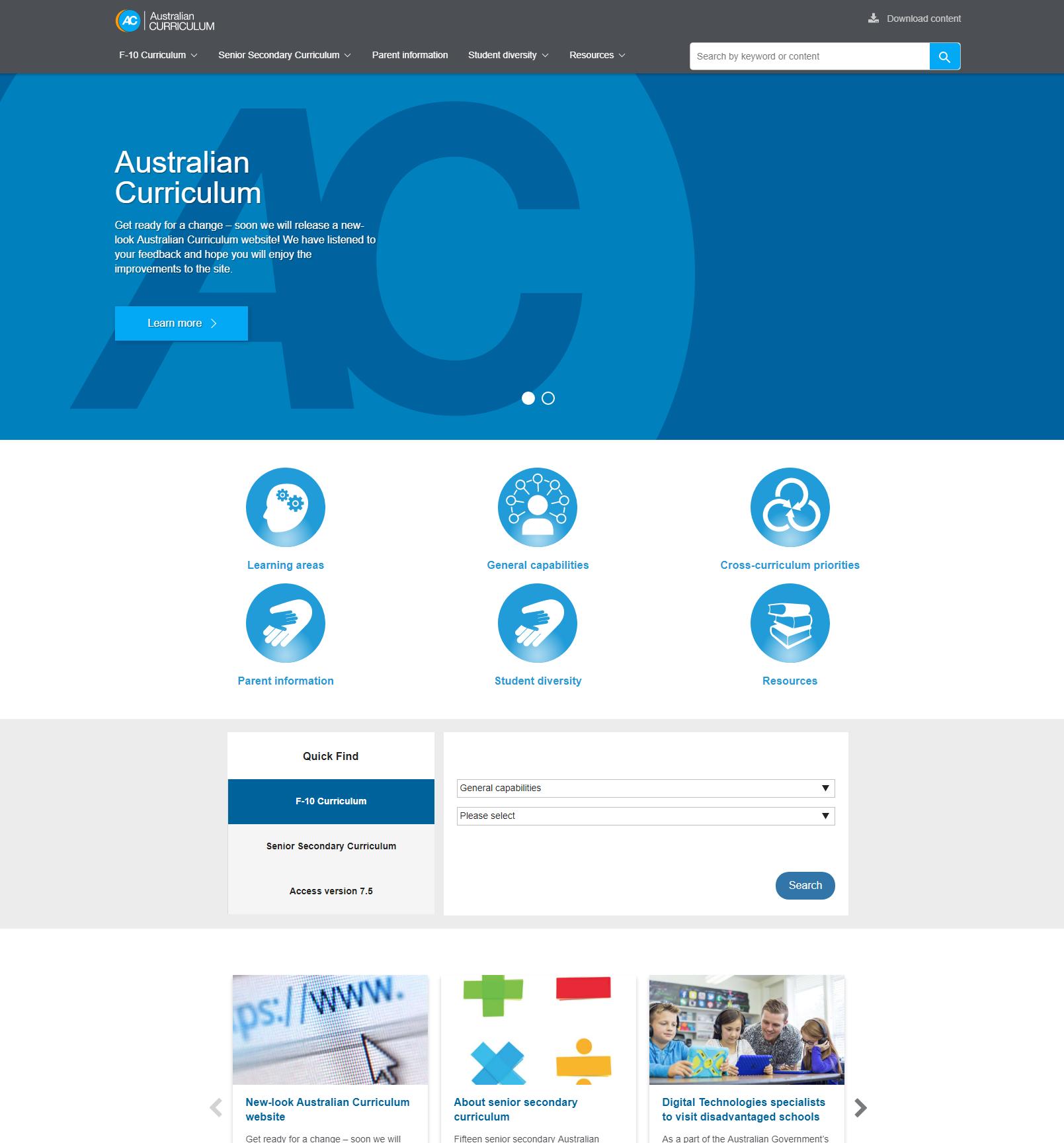 AC website  - Landing page sample