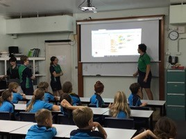 Year 9 students presenting Scratch to visiting primary students